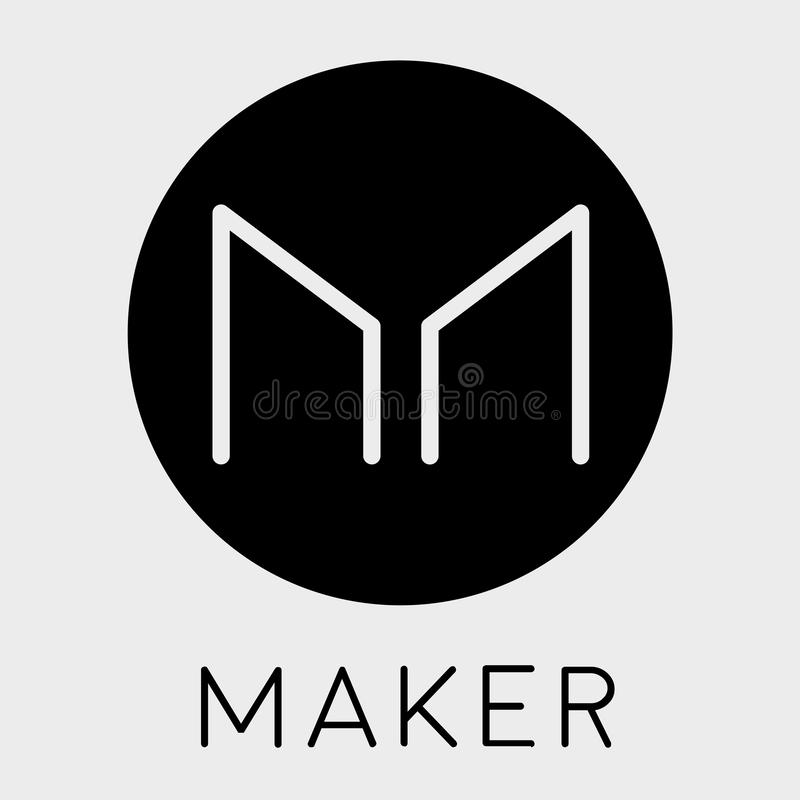 Hersteller MKR cryptocurrency Münzenlogo - blockchain Vektor lizenzfreie abbildung