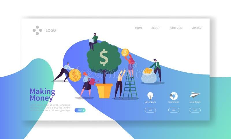 Herstellung der Geld-Landungs-Seite Anlagengeschäft-Fahne mit flachen Leute-Charakteren und Geld-Baum-Website-Schablone lizenzfreie abbildung