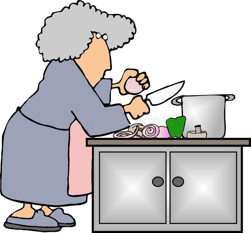 Herstellung der Suppe stock abbildung