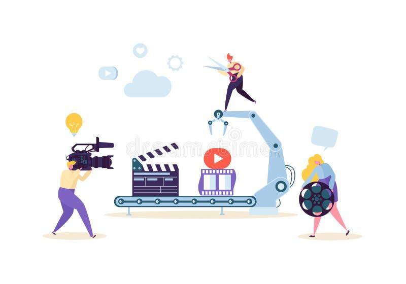 Herstellung des Films, Videoproduktions-Konzept Fernsehbetreiber mit Kamerarecorder Videography, Charaktere, die Film schießen lizenzfreie abbildung