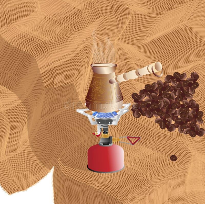 Herstellung des Morgenkaffees auf einem tragbaren Gasbrenner stock abbildung