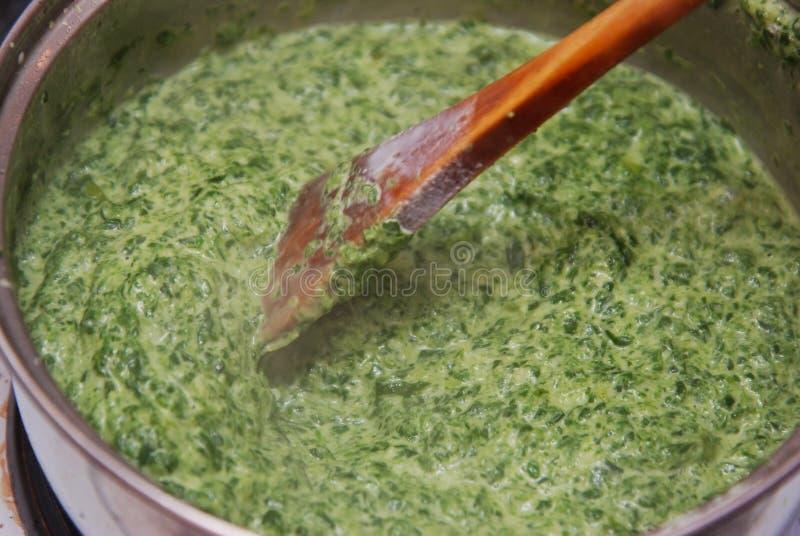Herstellung von von Spinats-Pesto oder Soße in der Kasserolle Selbst gemachtes Lebensmittel-Vorbereiten Selektiver Fokus stockfotos