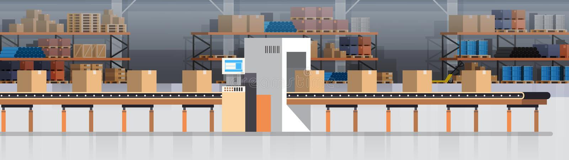 Herstellungs-Lager-Förderer, moderne Versammlungs-Fertigungsstraße-industrielle Förderer-Produktion vektor abbildung