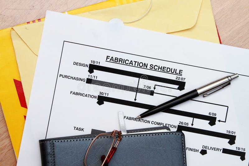 Herstellungszeitplan lizenzfreies stockfoto