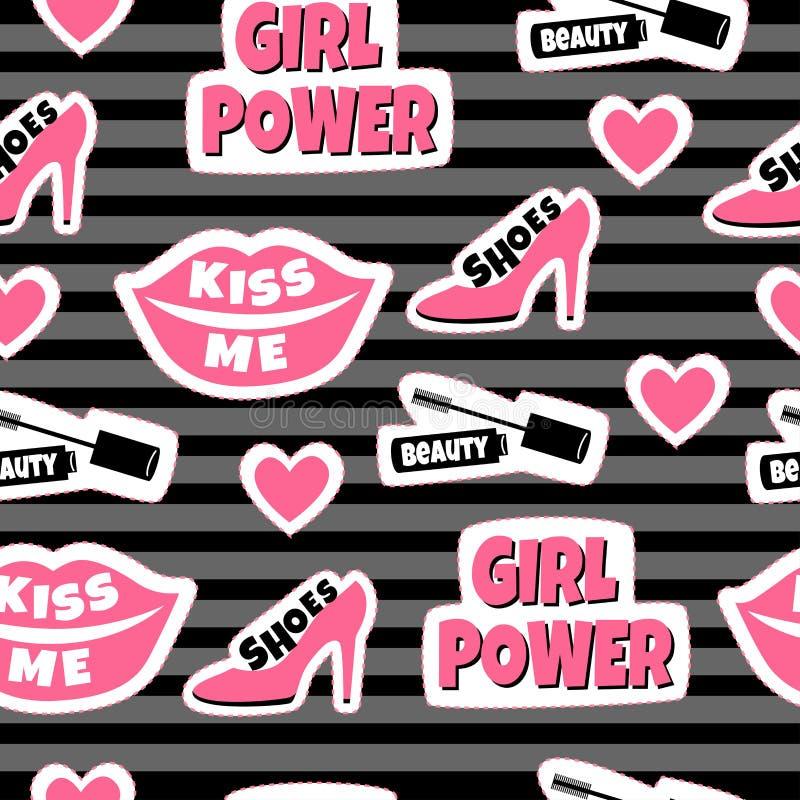 Herstelt achtergrond met inschrijving: de schoenen, schoonheid, kussen me en meisjesmacht royalty-vrije illustratie
