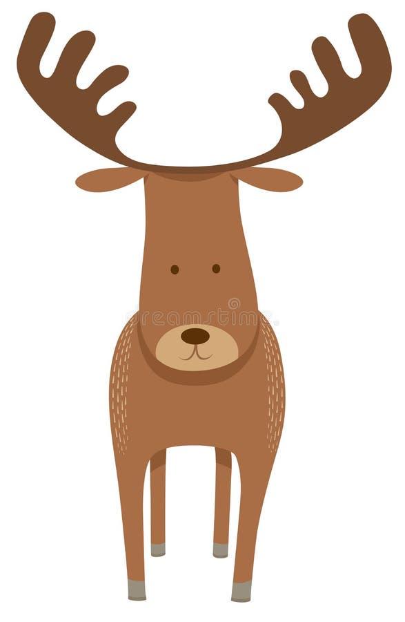 Herten of Amerikaanse elandenbeeldverhaal dierlijk karakter stock illustratie