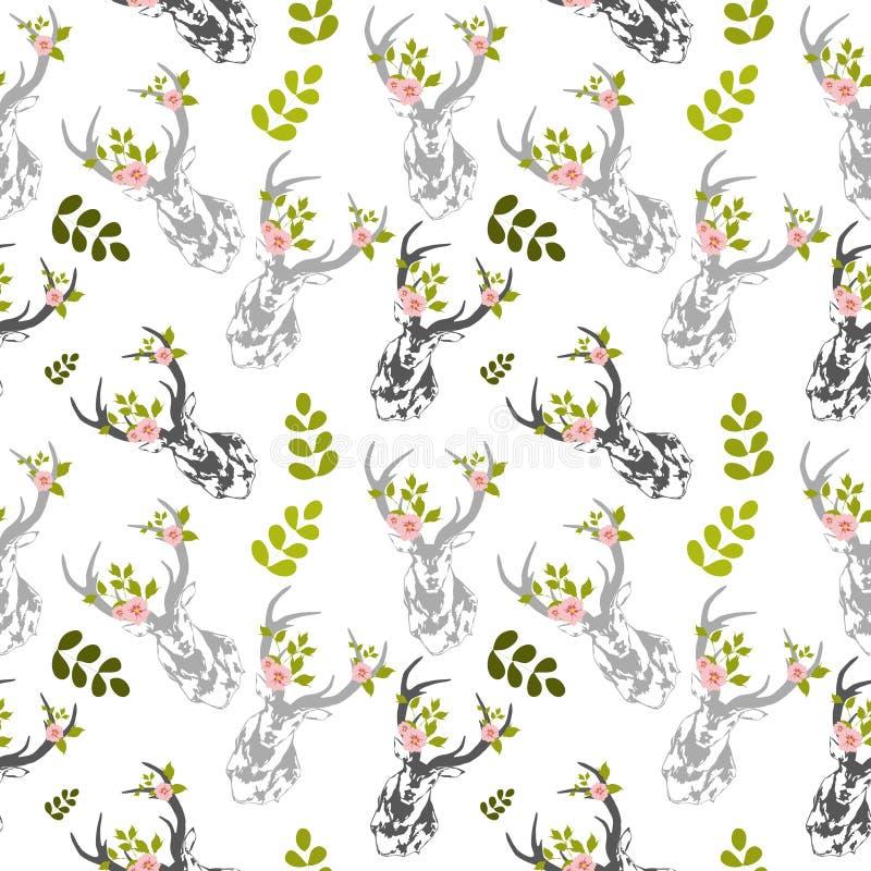 Herten, de bladeren naadloos patroon van de mannetjesbloem royalty-vrije illustratie