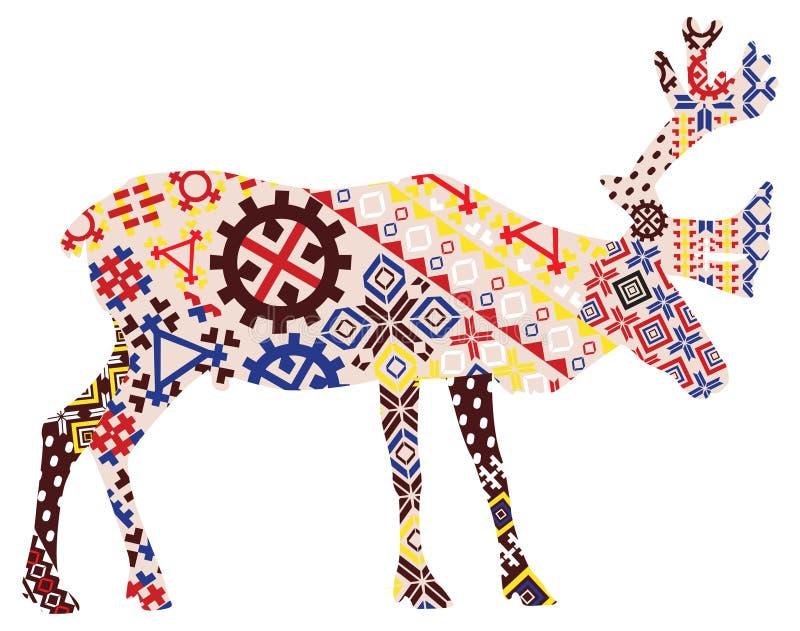 Herten in de patronen van Lapland stock illustratie