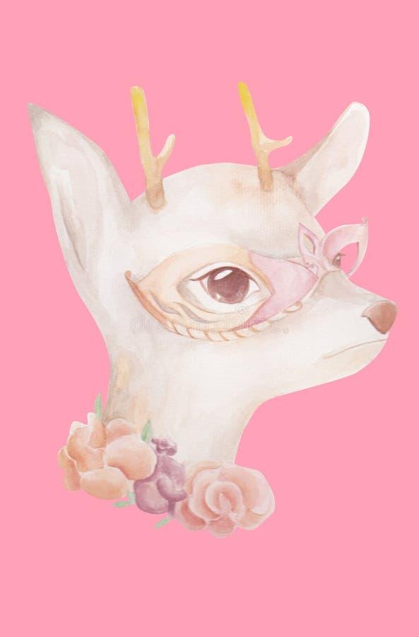 Herten die nacht buitensporig masker dragen stock foto's