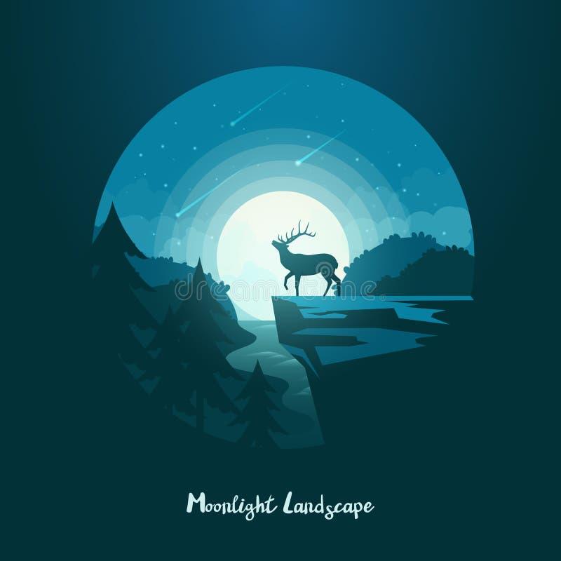 Herten of elanden, Amerikaanse elanden op klip bij middernachtlandschap vector illustratie