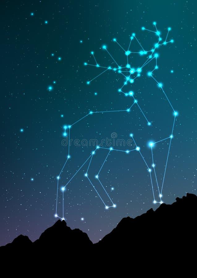 Herten en elandenconstellatie vectorart. Elanden in constellaties en ster op nachthemel en boslandschap Sterrige elanden of vector illustratie