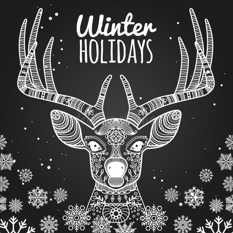 Herten en sneeuwvlokken de kaartmalplaatje van de de wintervakantie vector illustratie