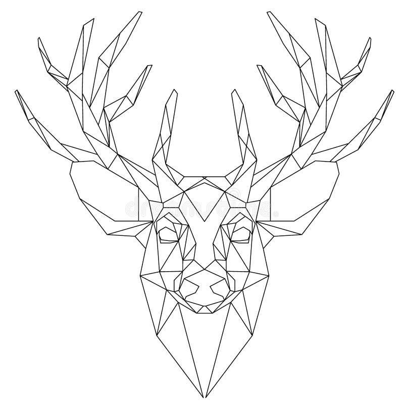 Herten hoofd driehoekig pictogram vector illustratie