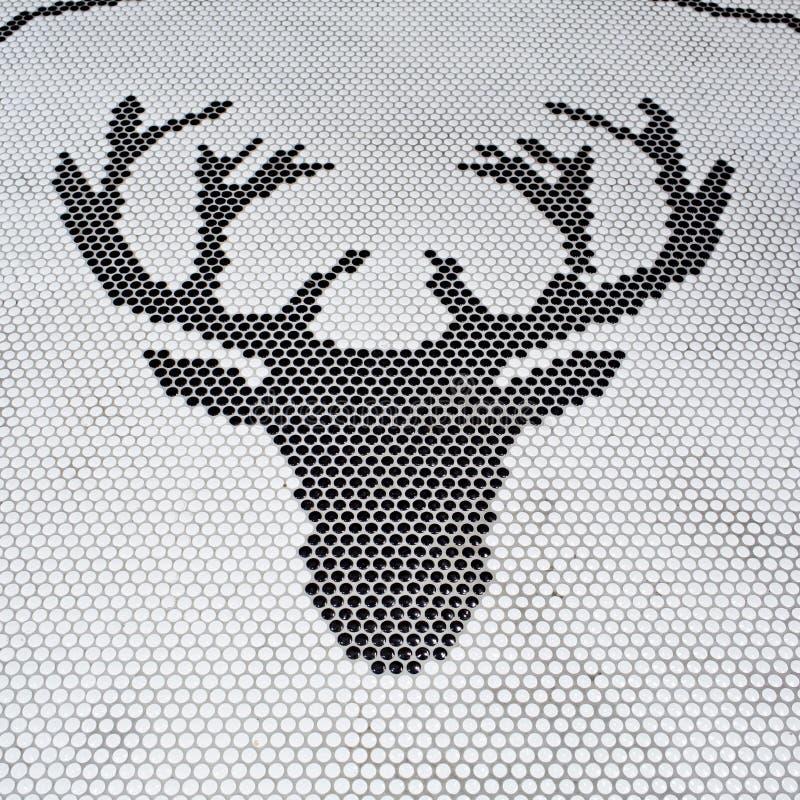 Herten hoofdsamenvatting door tegels op witte achtergronden, royalty-vrije illustratie