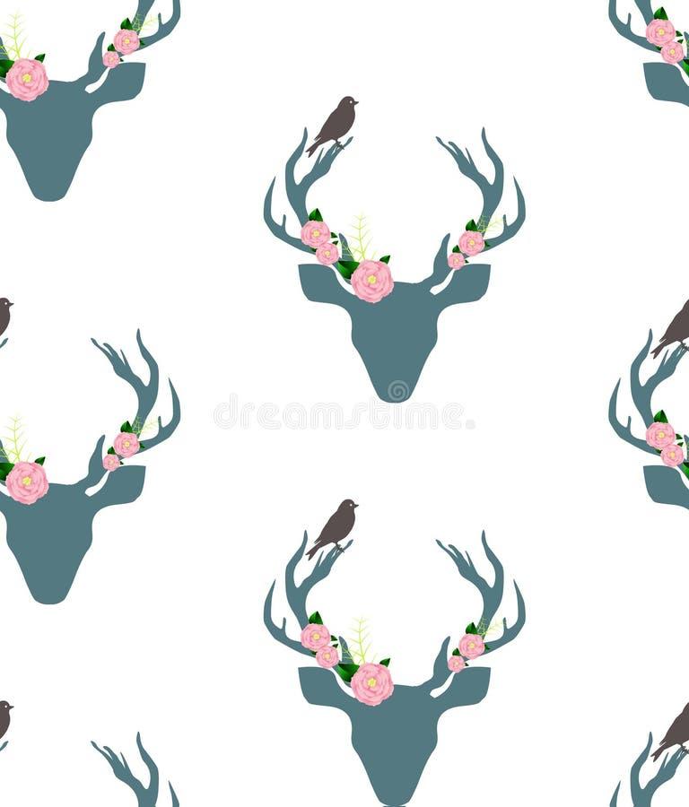 Herten, mannetjesbloem en vogel naadloos patroon royalty-vrije illustratie