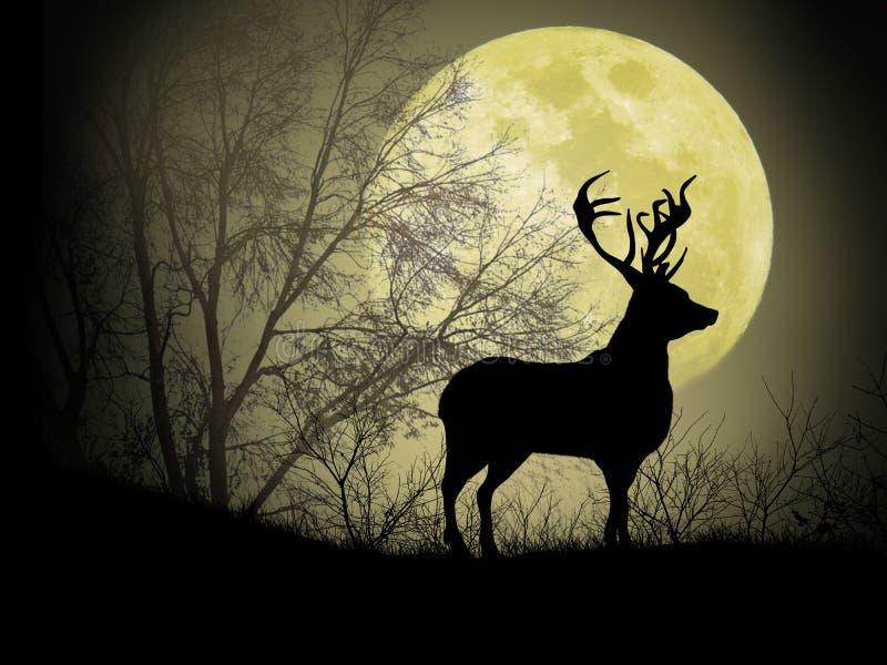 Herten onder de gele maan vector illustratie