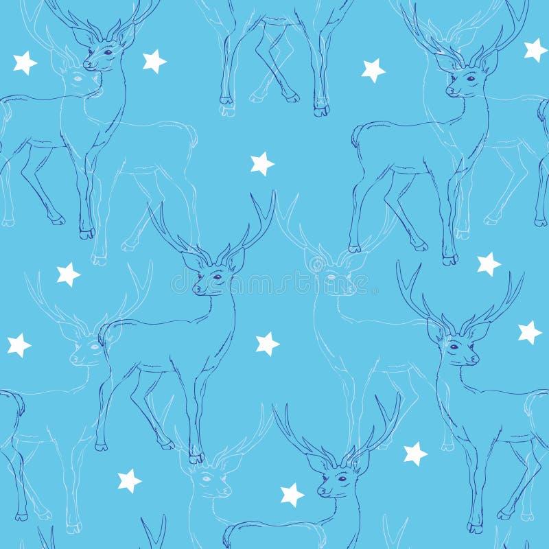 Herten, patroon, illustratie, vector, nieuw jaar, vrolijk ornament, stock illustratie