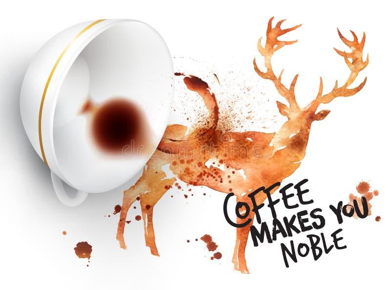 Herten van de affiche de wilde koffie royalty-vrije illustratie