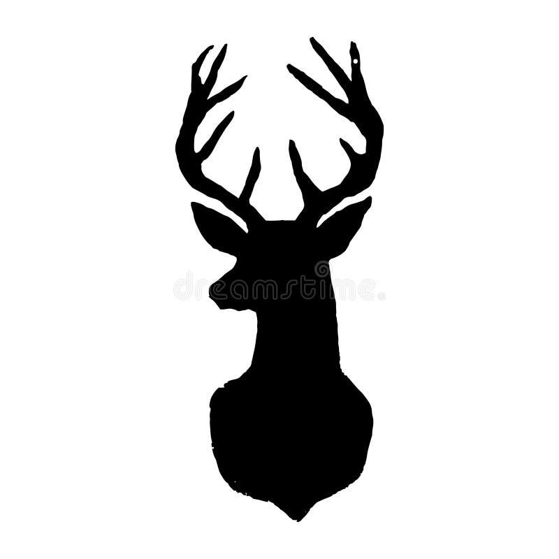 Herten Zwart besnoeiingssilhouet op een witte achtergrond Getrokken hand des stock illustratie