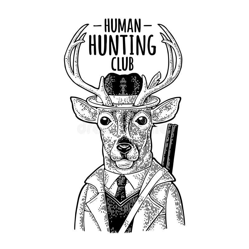 Hertenjager De jachtclub het van letters voorzien Uitstekende zwarte gravure vector illustratie