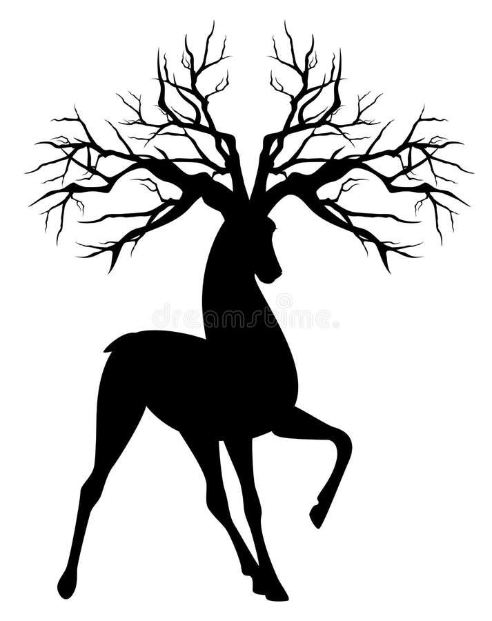 Hertenmannetje met het vectorontwerp van boomgeweitakken royalty-vrije illustratie