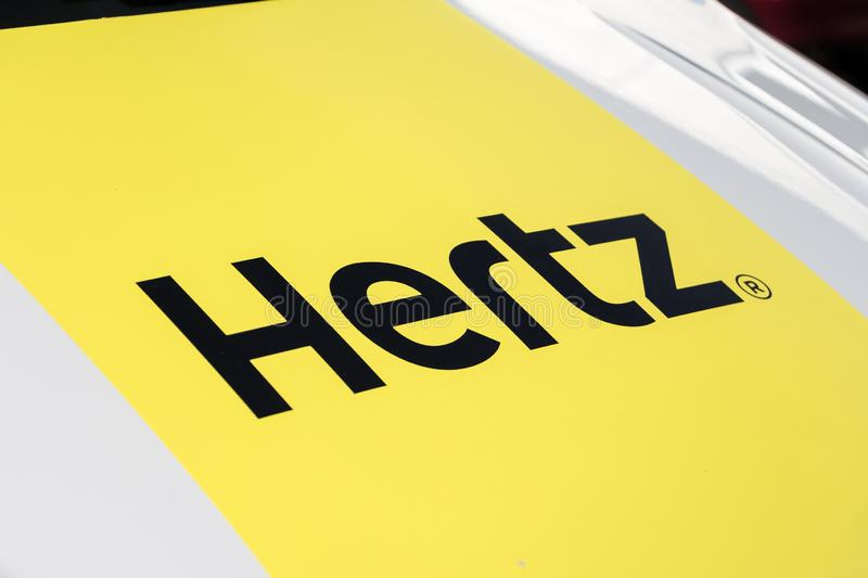 Hertz logo on Hertz van. MADRID, SPAIN - JUNE 23, 2019. Hertz logo on Hertz van. Herth is an American car rental company royalty free stock photos