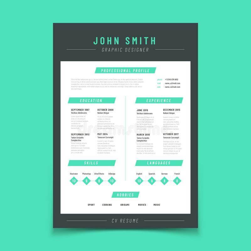Hervat brief Persoonlijke cv-steekproef met professioneel vitae en leerplan vectormalplaatje stock illustratie
