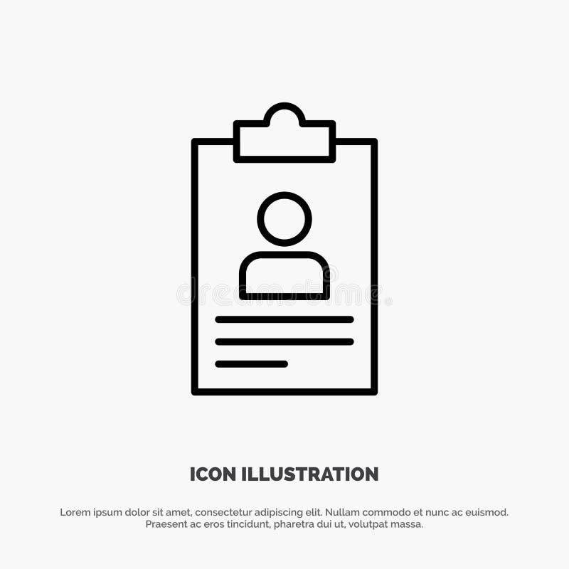 Hervat, Toepassing, Klembord, Leerplan, Cv-de Vector van het Lijnpictogram royalty-vrije illustratie