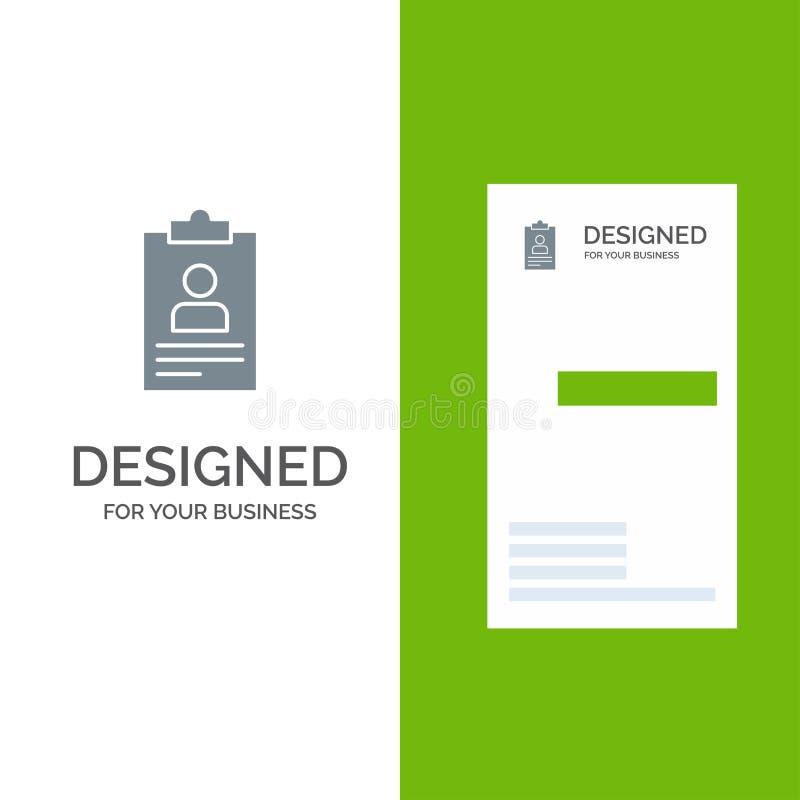 Hervat, Toepassing, Klembord, Leerplan, Cv Grey Logo Design en Visitekaartjemalplaatje vector illustratie