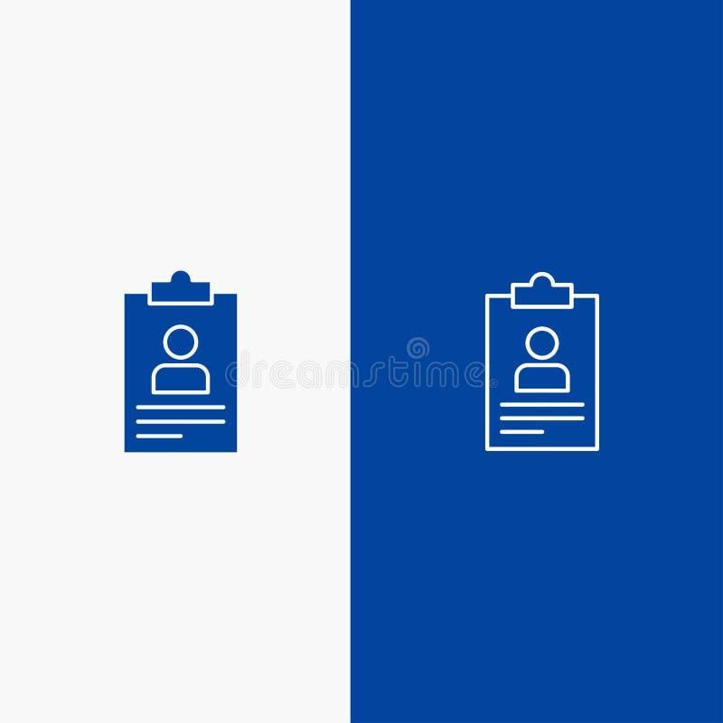 Hervat, Toepassing, Klembord, Leerplan, Cv-Lijn en Lijn van de het pictogram Blauwe banner van Glyph de Stevige en Stevige het pi royalty-vrije illustratie