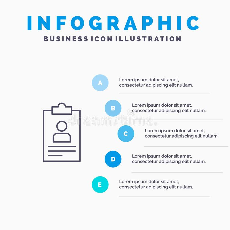 Hervat, Toepassing, Klembord, Leerplan, Cv-Lijnpictogram met infographicsachtergrond van de 5 stappenpresentatie royalty-vrije illustratie