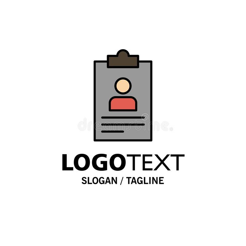 Hervat, Toepassing, Klembord, Leerplan, Cv-Zaken Logo Template vlakke kleur vector illustratie