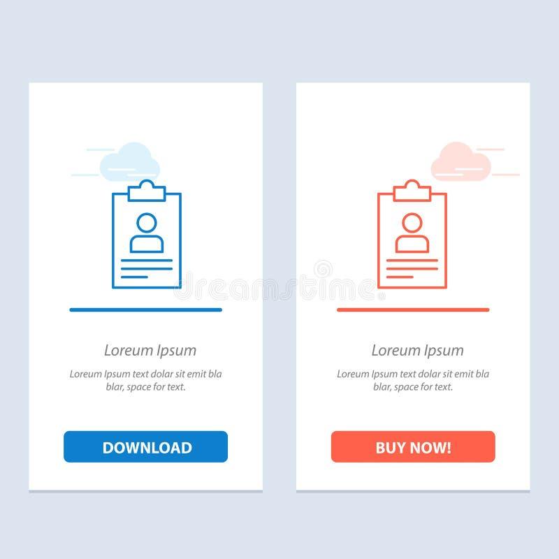 Hervat, Toepassing, Klembord, Leerplan, de Blauwe en Rode Download van Cv en koop nu de Kaartmalplaatje van Webwidget royalty-vrije illustratie