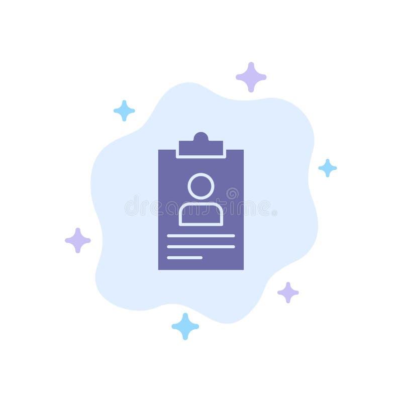 Hervat, Toepassing, Klembord, Leerplan, het Blauwe Pictogram van Cv op Abstracte Wolkenachtergrond stock illustratie