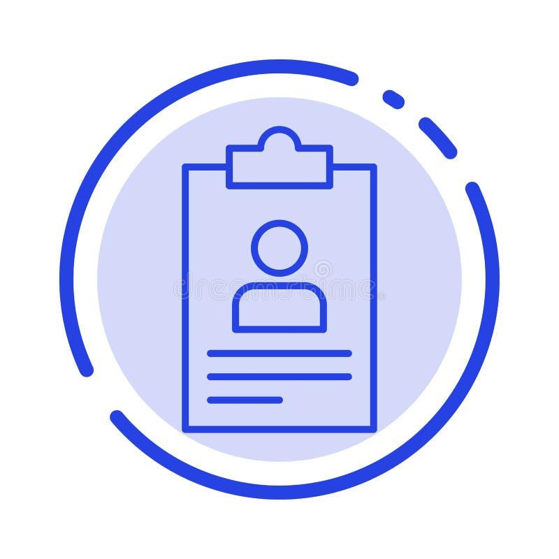 Hervat, Toepassing, Klembord, Leerplan, het Blauwe Pictogram van de de Gestippelde Lijnlijn van Cv royalty-vrije illustratie