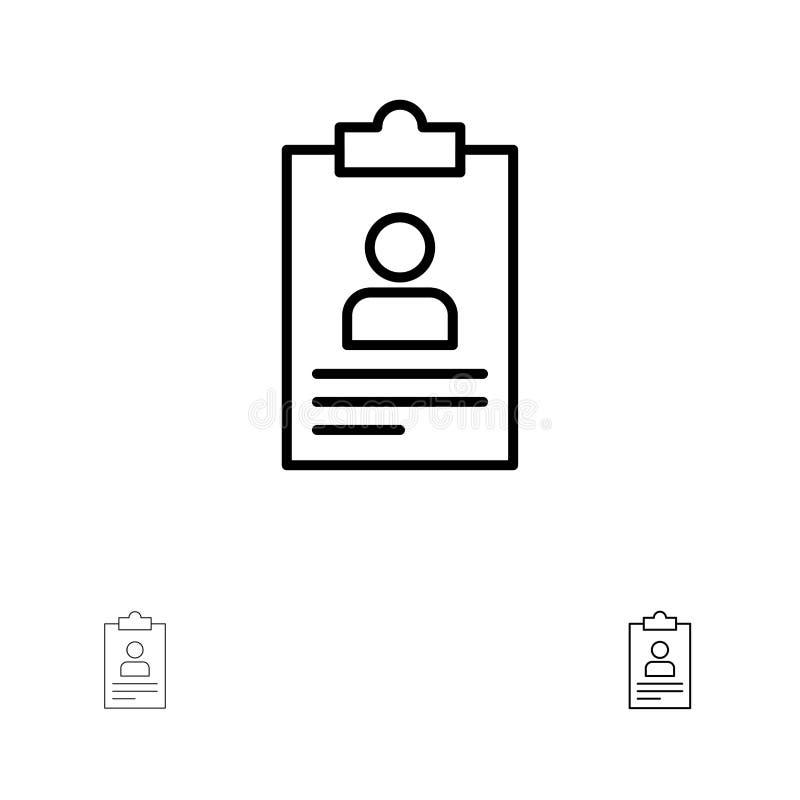 Hervat, Toepassing, Klembord, Leerplan, reeks van het de lijnpictogram van Cv de Gewaagde en dunne zwarte stock illustratie