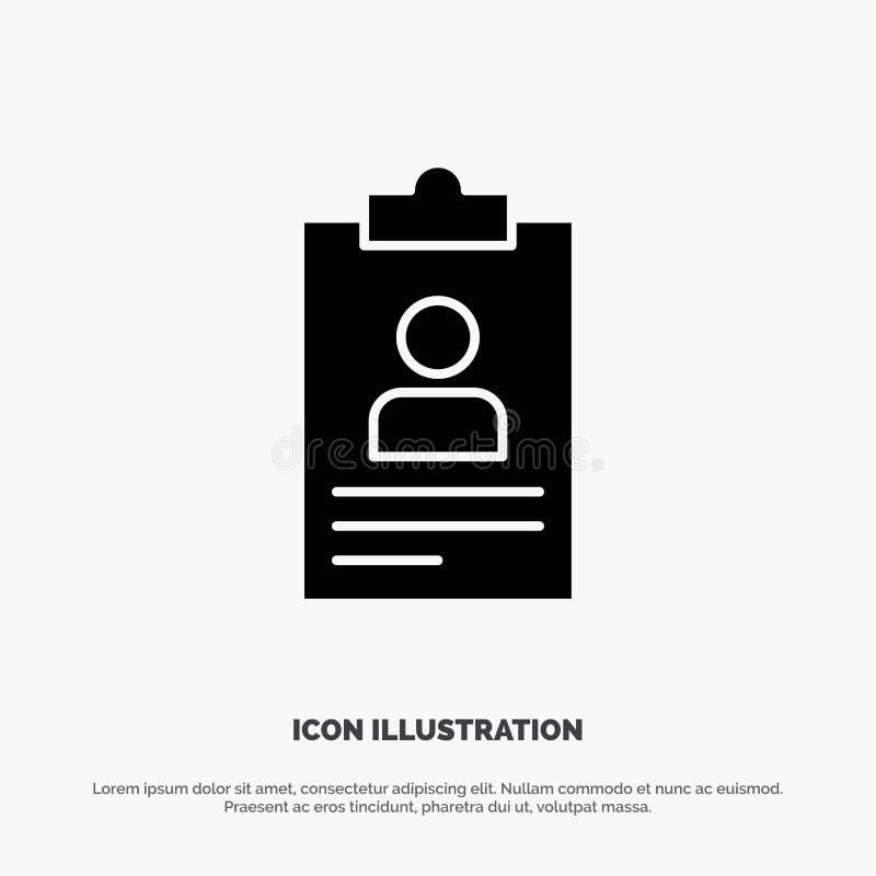 Hervat, Toepassing, Klembord, Leerplan, stevige Glyph het Pictogramvector van Cv vector illustratie