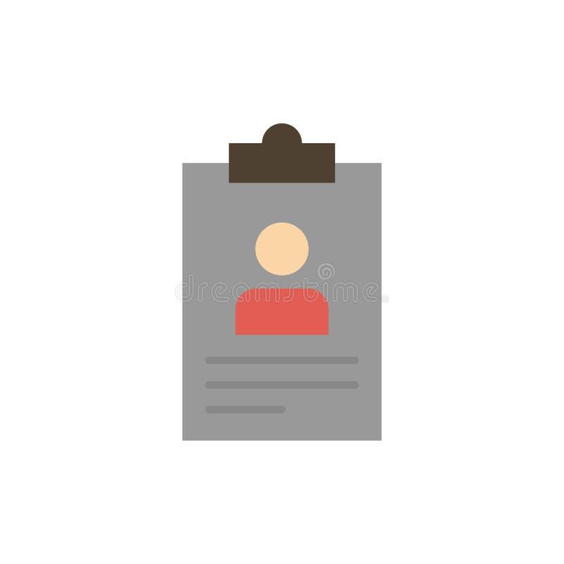 Hervat, Toepassing, Klembord, Leerplan, Vlak de Kleurenpictogram van Cv Het vectormalplaatje van de pictogrambanner vector illustratie