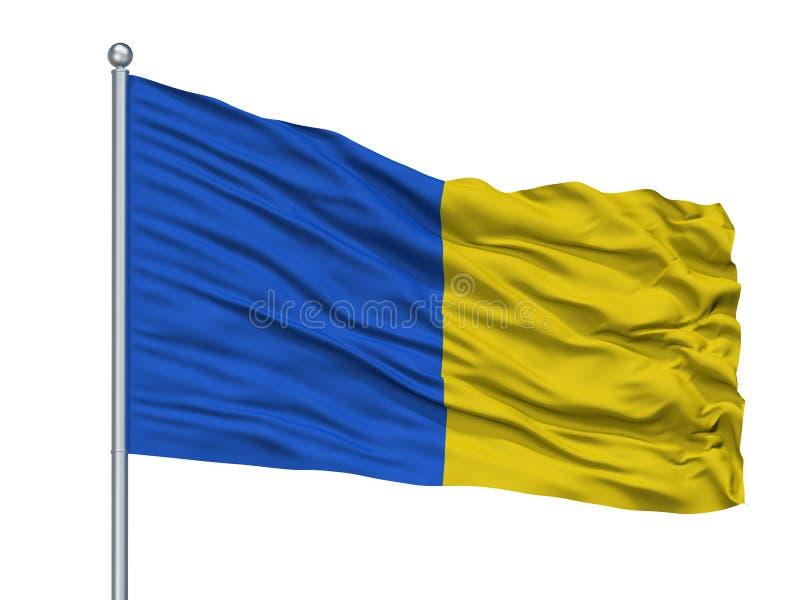 Herve City Flag On Flagpole, Bélgica, aislada en el fondo blanco stock de ilustración