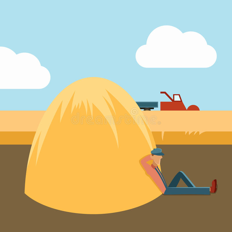 Hervest. Vector image of a lazy guy and harvest vector illustration
