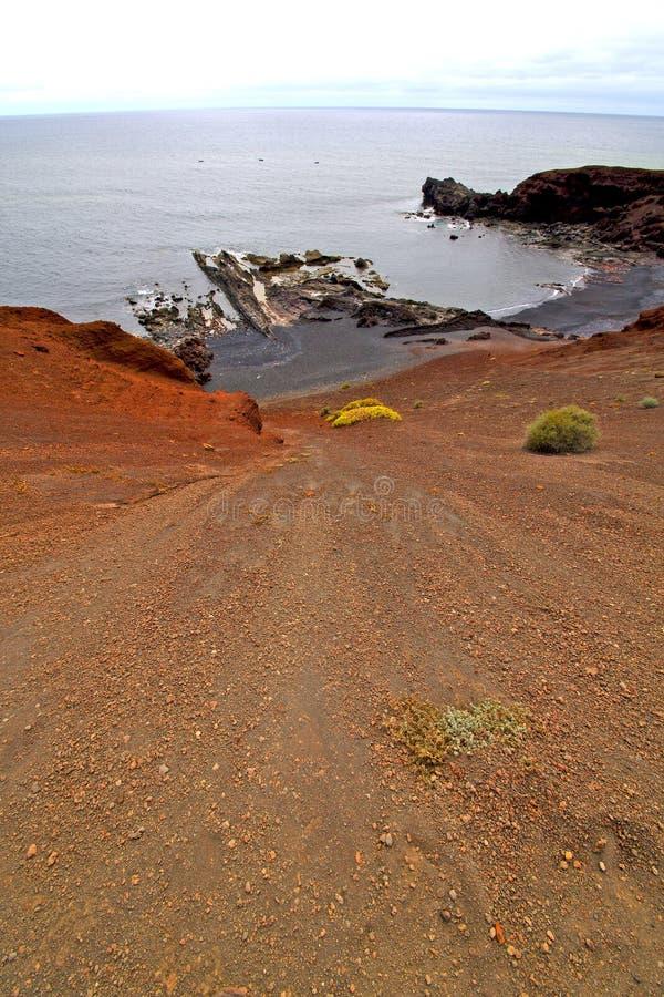 Hervideros bruine rots in witte kust onderaan heuvel royalty-vrije stock fotografie