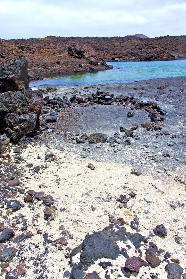 Hervideros in wit kustlanzarote water en de zomer stock fotografie