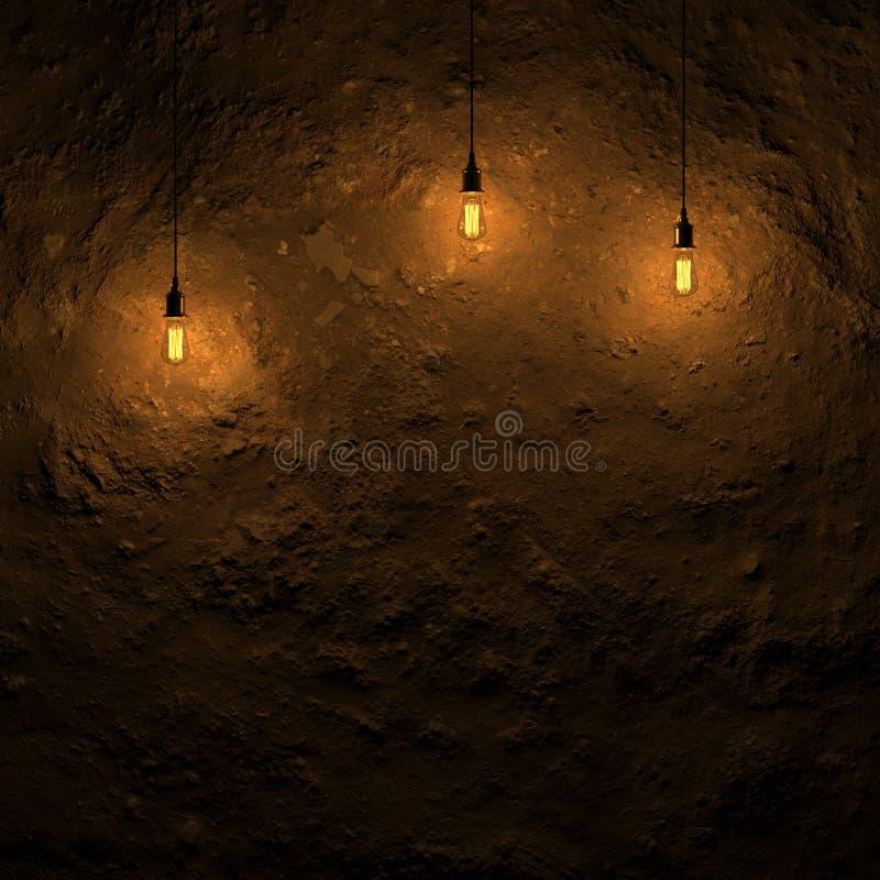 hervorgehobene Grundwand durch Wiedergabe Edison-Lampe 3d vektor abbildung