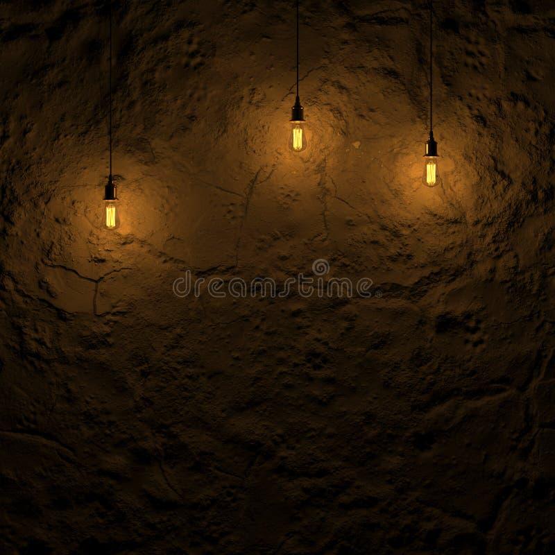hervorgehobene Grundwand durch Wiedergabe Edison-Lampe 3d lizenzfreie abbildung
