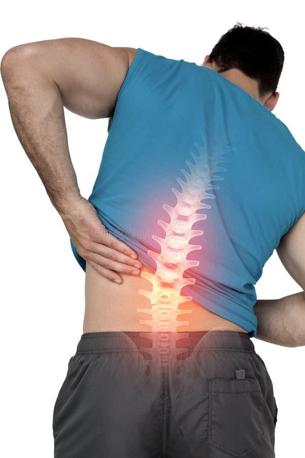 Hervorgehobene Rückenschmerzen des Sitzmannes stockbild