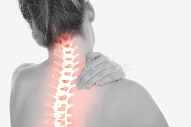 Hervorgehobener Dorn der Frau mit Nackenschmerzen lizenzfreies stockfoto