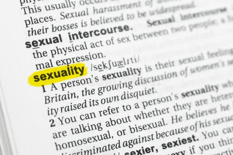 Hervorgehobenes englisches Wort u. x22; sexuality& x22; und seine Definition am Wörterbuch stockfotografie