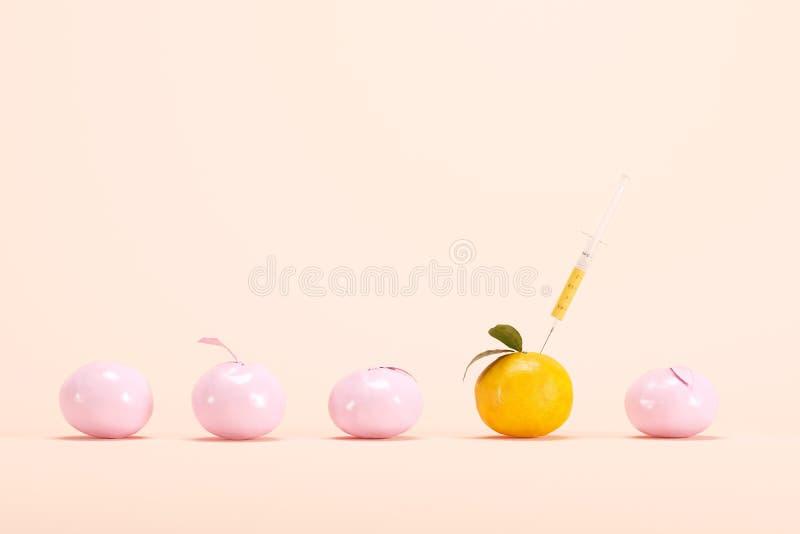 Hervorragende genetisch geänderte Orange mit Spritze unter rosa Orange stock abbildung