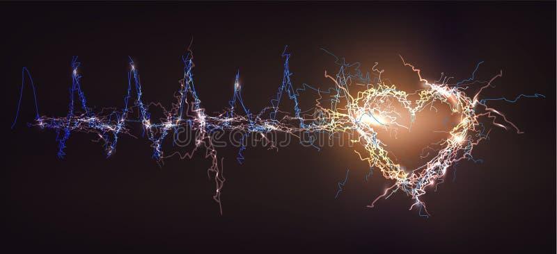 Herz, abstrakter Hintergrund gemacht vom elektrischen Lichteffekt lizenzfreie abbildung