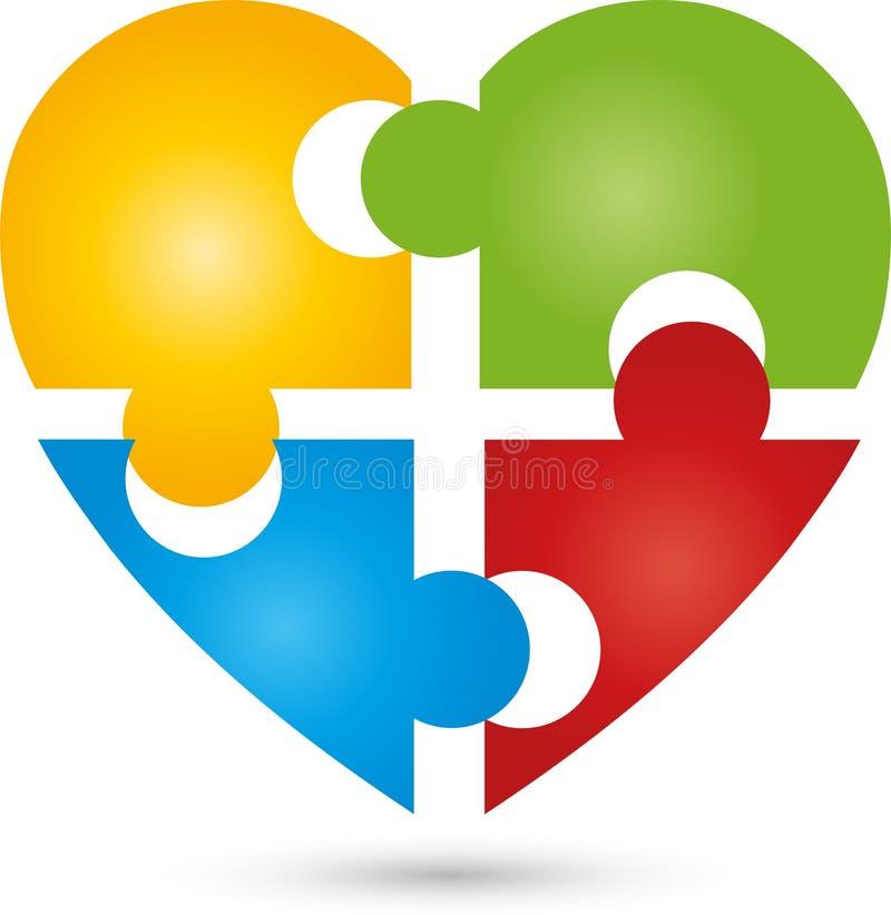 Herz als Puzzlespiel, Puzzlespiellogos und -zeichen, Knöpfe und Ikonensammlung, Spiellogos stock abbildung